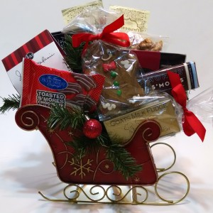 Seasonal Delights Sleigh Gift Basket - Premium