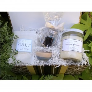 "Salt + Light Gift Box with Salt + Peak 16 oz ""Cactus Flower"" Candle"