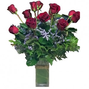 One Dozen Roses in Glass Vase